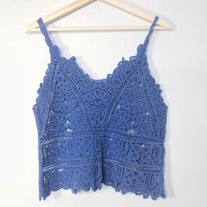Blue Crochet Spaghetti Strap Crop Tank